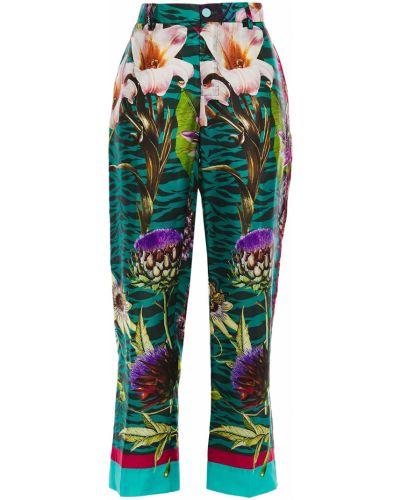 Шелковые прямые зеленые брюки F.r.s. For Restless Sleepers