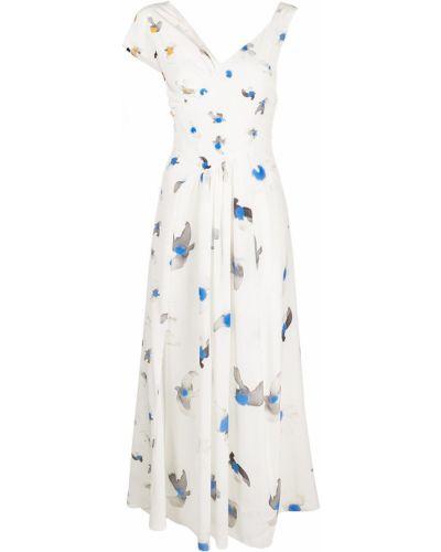 Белое платье мини с короткими рукавами с вырезом Nina Ricci