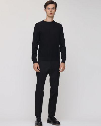 Czarne spodnie wełniane z paskiem Pantaloni Torino