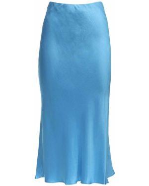 Prążkowana niebieska spódnica midi z wysokim stanem Bec & Bridge