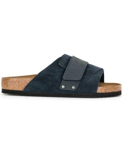 Niebieski skórzany skórzany sandały płaska podeszwa otwarty palec u nogi Birkenstock