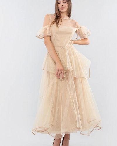 Бежевое вечернее платье Maxa