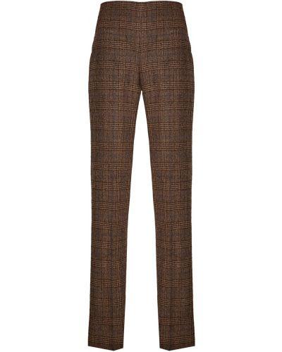Шерстяные коричневые брюки дудочки в клетку Chapurin