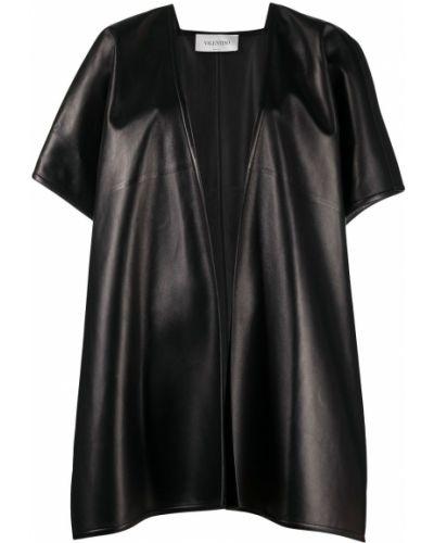 Черный кожаный с рукавами кейп Valentino