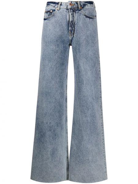 Синие пляжные джинсы с высокой посадкой с карманами с заплатками Filles A Papa