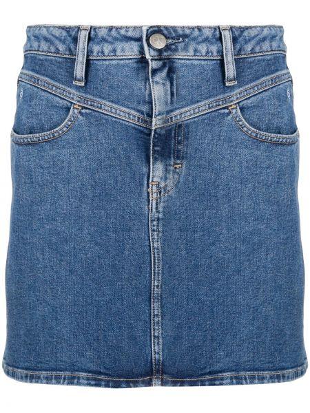 Синяя прямая с завышенной талией юбка мини Calvin Klein Jeans