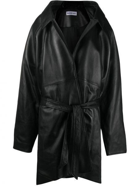 Bawełna czarny długa kurtka z długimi rękawami z klapami Balenciaga