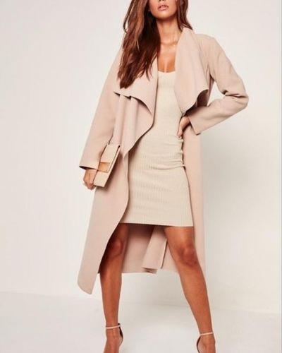 Кожаное пальто - бежевое Missguided