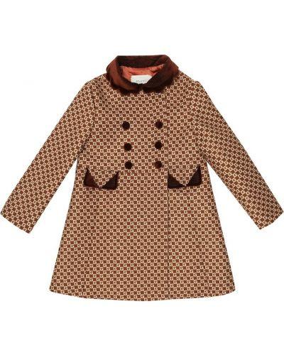 Ciepły beżowy wełniany płaszcz Gucci Kids