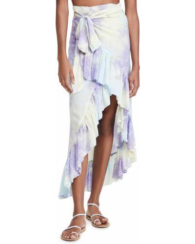 Текстильная желтая юбка тюльпан стрейч Tiare Hawaii