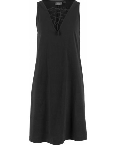 Платье мини на шнуровке черное Bonprix