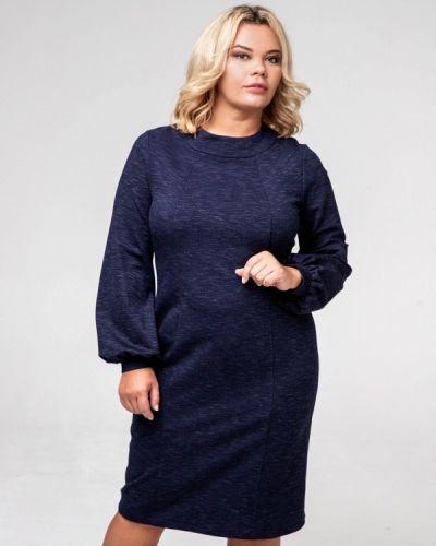 Платье миди осеннее синее авантюра Plus Size Fashion