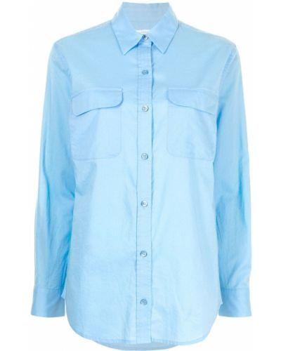 Хлопковая синяя с рукавами классическая рубашка Equipment