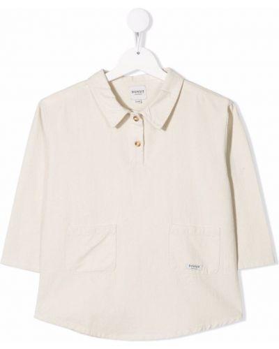 Beżowa koszula bawełniana z długimi rękawami Donsje