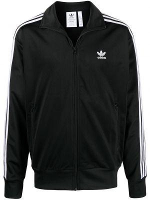 С рукавами черная длинная куртка с нашивками Adidas