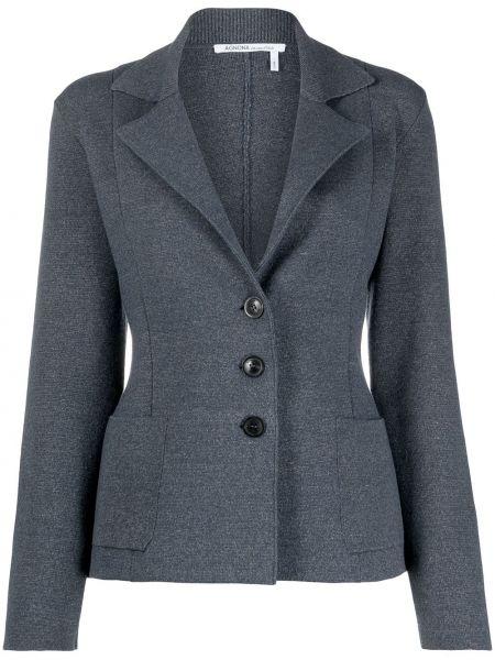 С рукавами синий удлиненный пиджак с накладными карманами Agnona