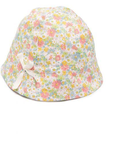 Żółty kapelusz bawełniany w kwiaty Bonpoint