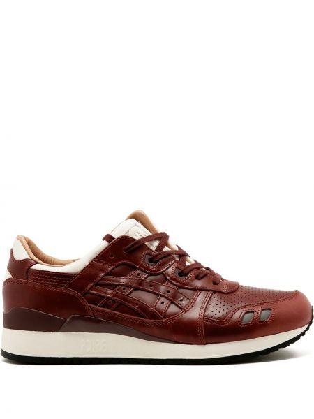 Коричневые кожаные кроссовки на шнурках Asics