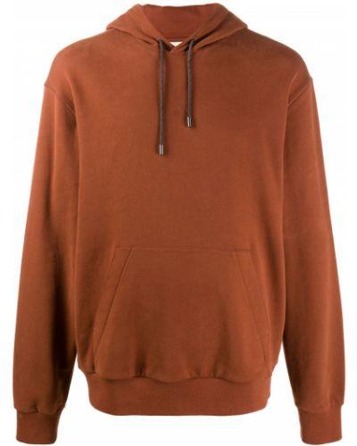 Pomarańczowa bluza długa z kapturem bawełniana Z Zegna