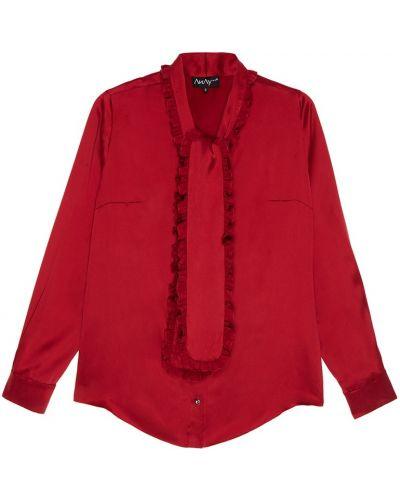 Шелковая красная блузка с воротником ли-лу