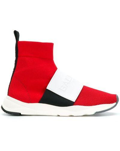 Красные кроссовки кожаный Balmain