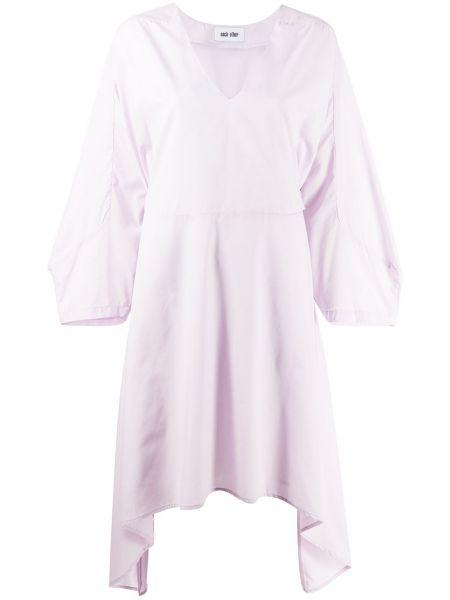 Fioletowa sukienka midi rozkloszowana z długimi rękawami Each X Other