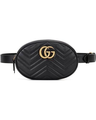 Ремень черный золотой Gucci