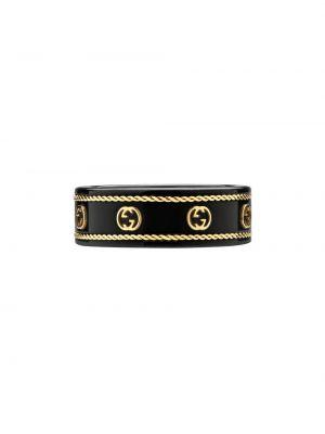 Czarny złoty pierścionek Gucci