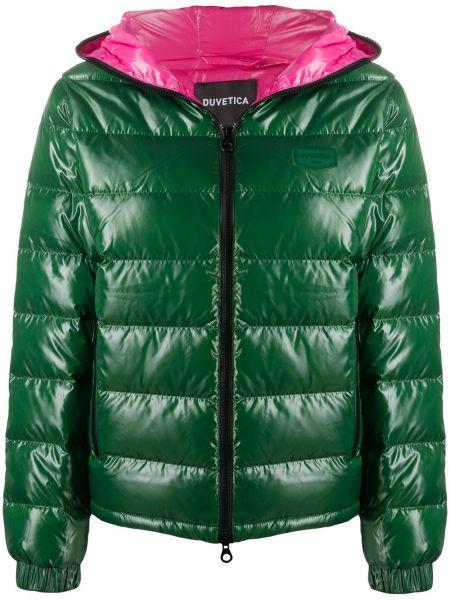 Прямая зеленая длинная куртка с капюшоном Duvetica