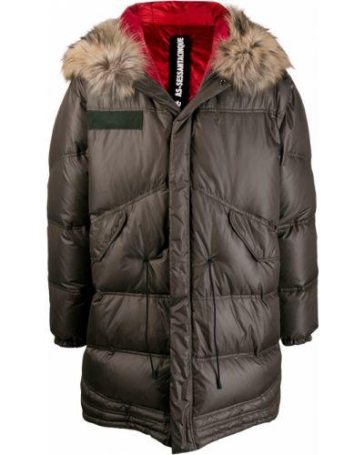 Приталенная куртка с капюшоном с манжетами с опушкой хаки As65