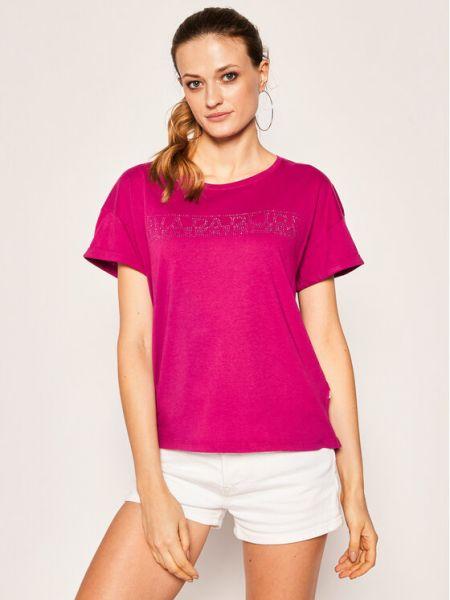 Fioletowy t-shirt Napapijri