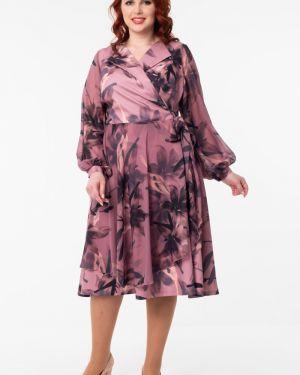Платье с поясом розовое с запахом Wisell