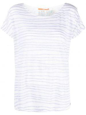 Белая футболка с вырезом в полоску Boss Hugo Boss