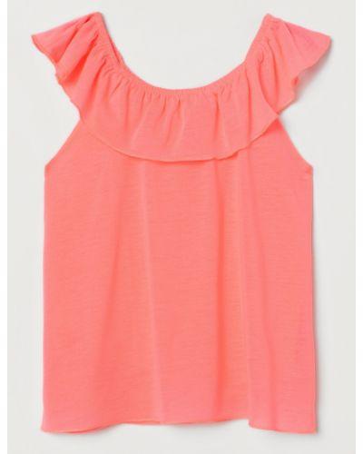 Розовая блузка на резинке с оборками H&m