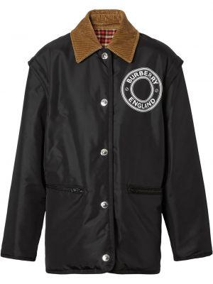 Черная куртка вельветовая с подкладкой Burberry