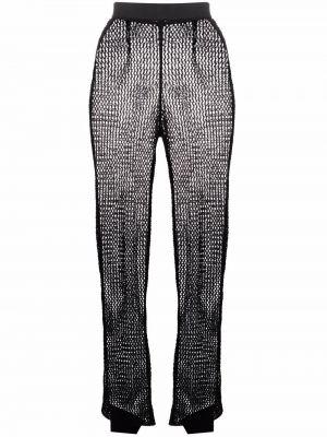 Черные с завышенной талией брюки сетчатые Roberto Collina