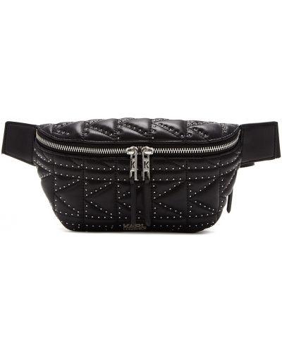 Кожаная сумка поясная с заклепками Karl Lagerfeld