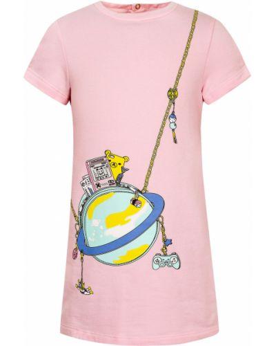 Розовое хлопковое платье Little Marc Jacobs