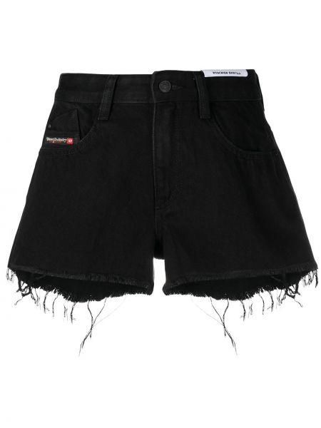С завышенной талией кожаные черные джинсовые шорты Diesel