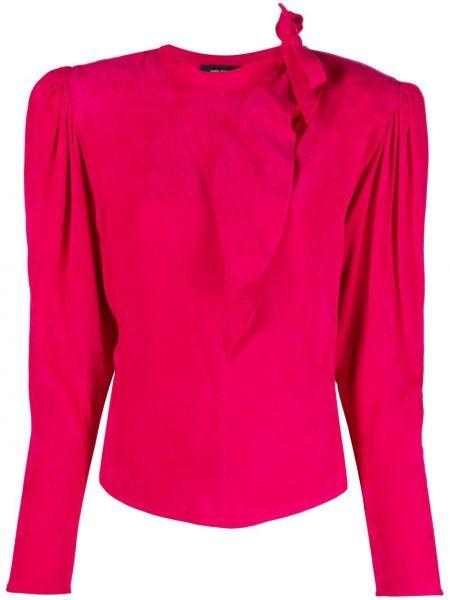 Прямая розовая шелковая блузка Isabel Marant