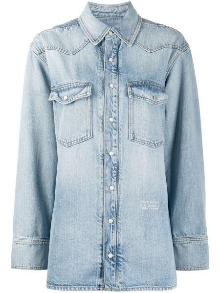 Niebieska koszula jeansowa bawełniana z długimi rękawami Givenchy