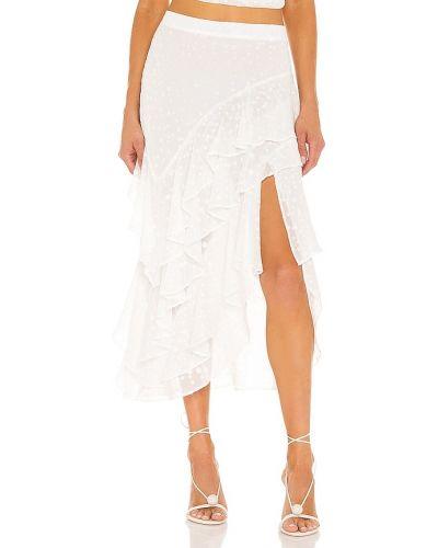 Белая юбка на резинке металлическая в горошек Misa Los Angeles