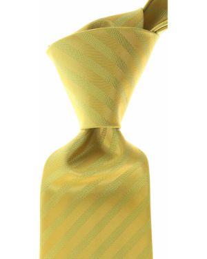 Żółty krawat w paski z jedwabiu Isaia
