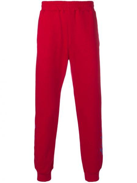 Хлопковые спортивные красные спортивные брюки с поясом Ktz