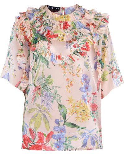 Блузка с цветочным принтом на пуговицах Rochas