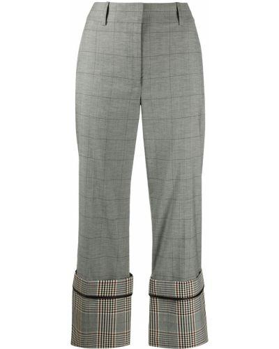 Шерстяные черные свободные брюки с отворотом с высокой посадкой Monse