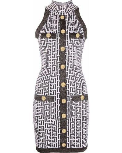 Хлопковое платье мини - черное Balmain