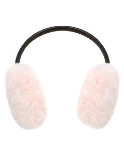 Розовые меховые наушники из кролика с декоративной отделкой Yves Salomon