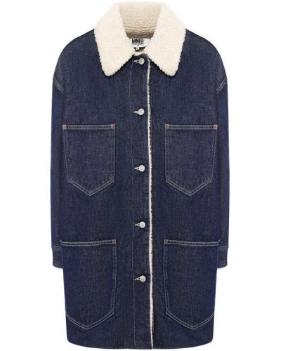Джинсовая куртка свободная с карманами Mm6