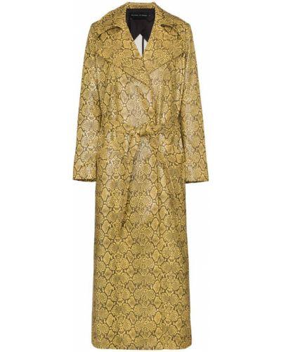 Желтое кожаное длинное пальто с поясом Michael Lo Sordo